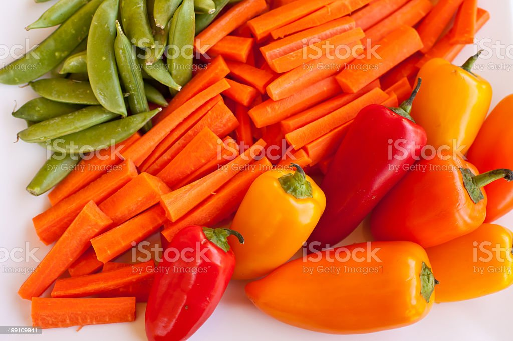 Top view of vegetable platter stock photo