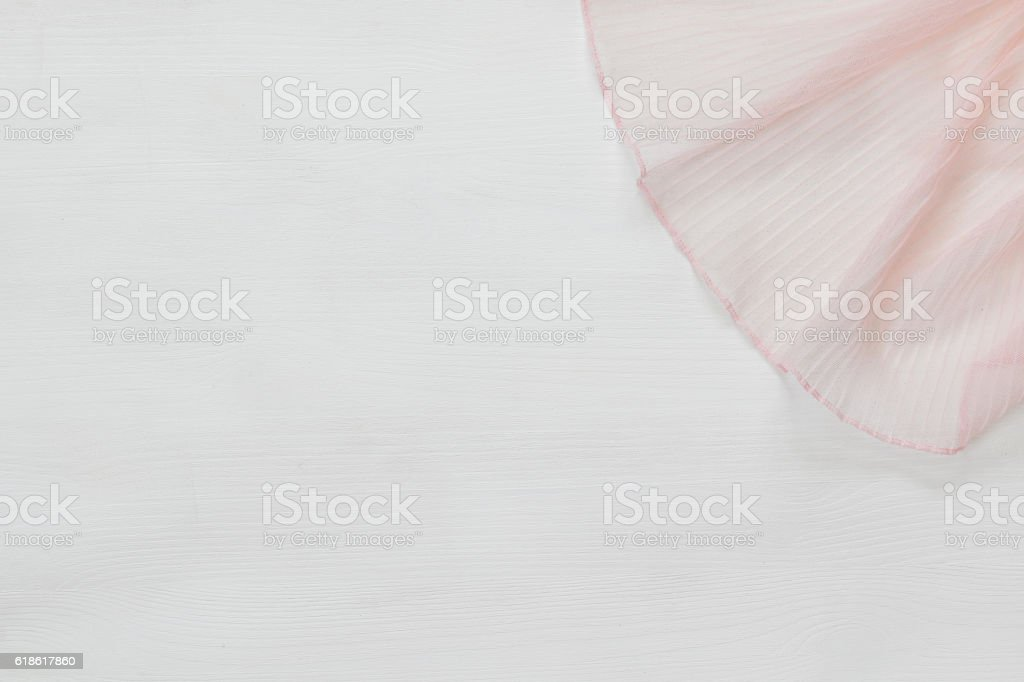 top view of vintage hand made beautiful chiffon fabric stock photo