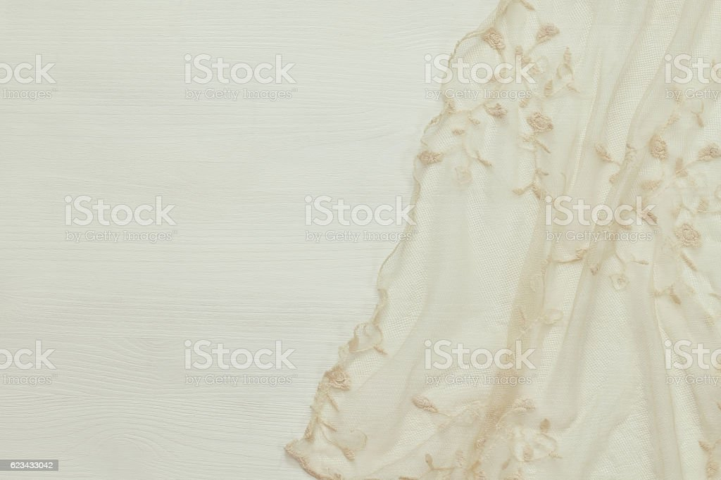 top view of vintage hand made beautiful lace fabric stock photo