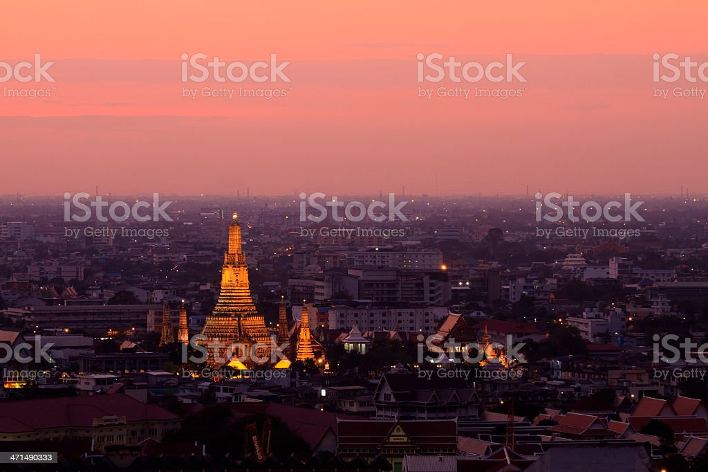 Top view of Wat Arun with a Orangesky. royalty-free stock photo