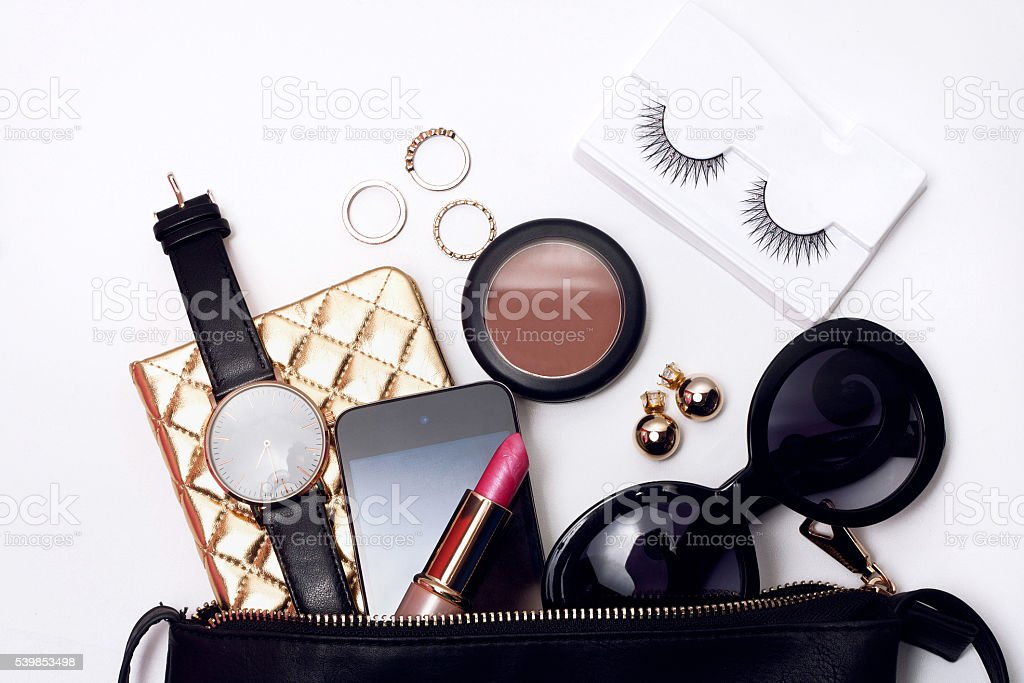 Top view of woman fashion accessories. stock photo