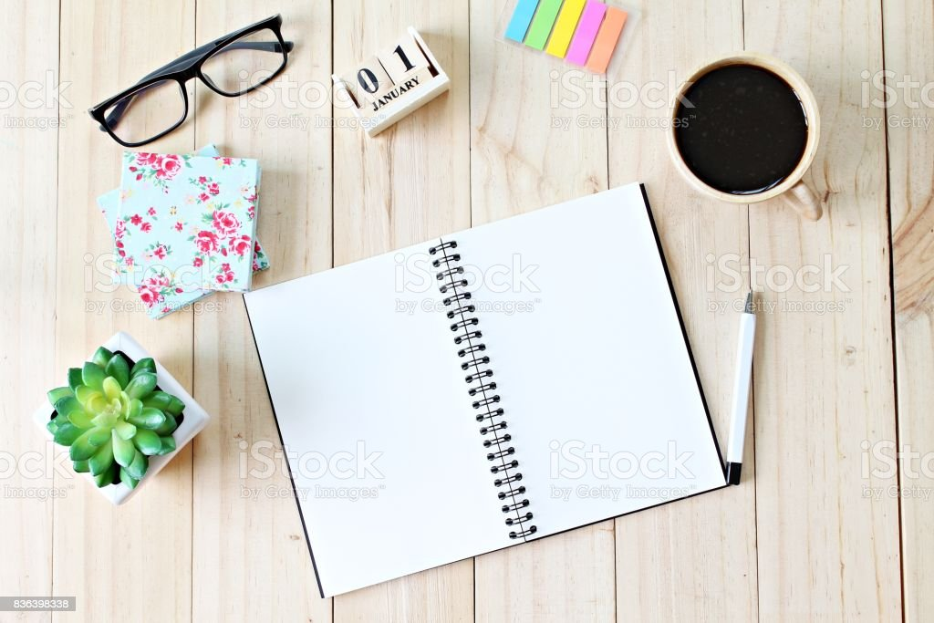 Still life, business office supplies or new year concept : Top view...