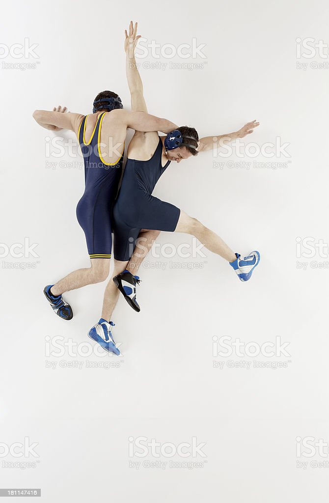 Top view of wrestlers in action stock photo