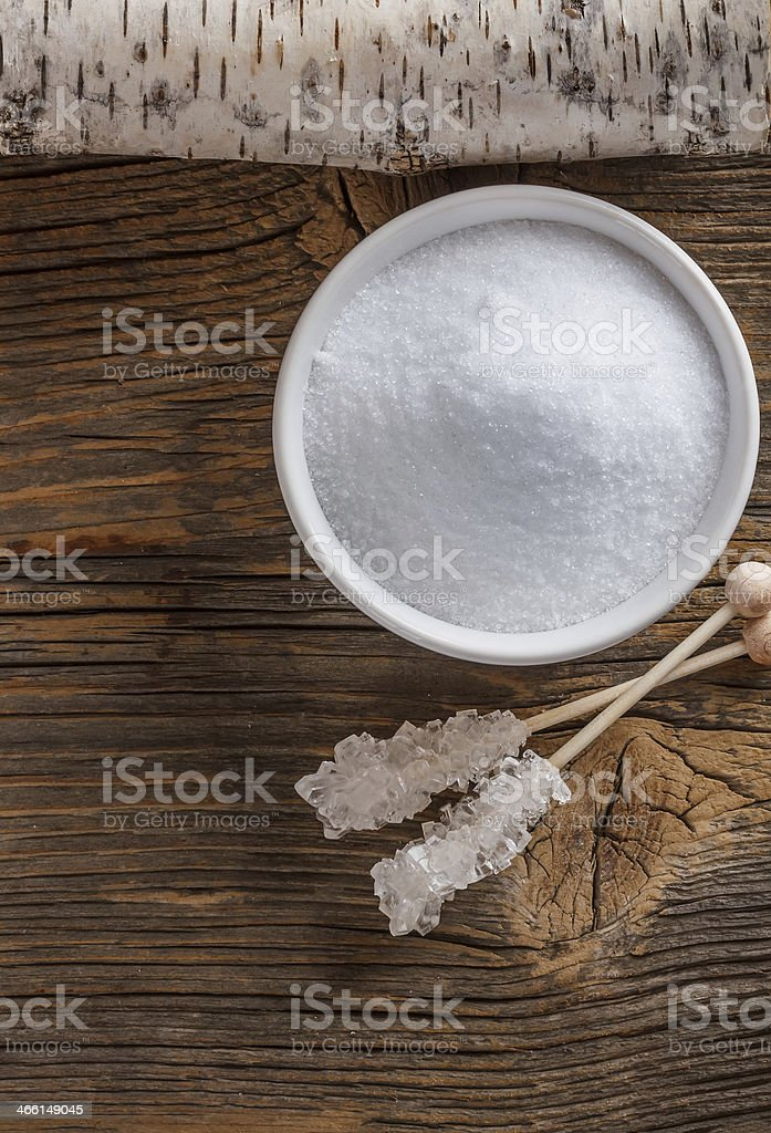 Top view of xylitol stock photo