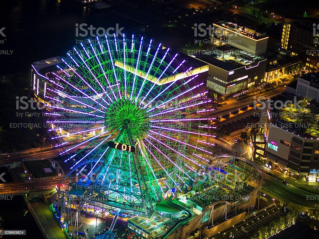 Top view of Yokohama waterfront at night stock photo