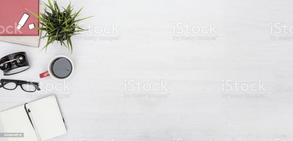 top view office header image stock photo