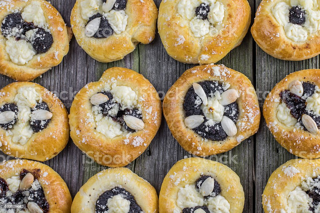 Top View on a Czech Traditional Poppy Pies with Almond stock photo