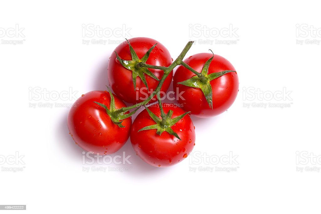 Top view on bunch of fresh tomatoes stock photo