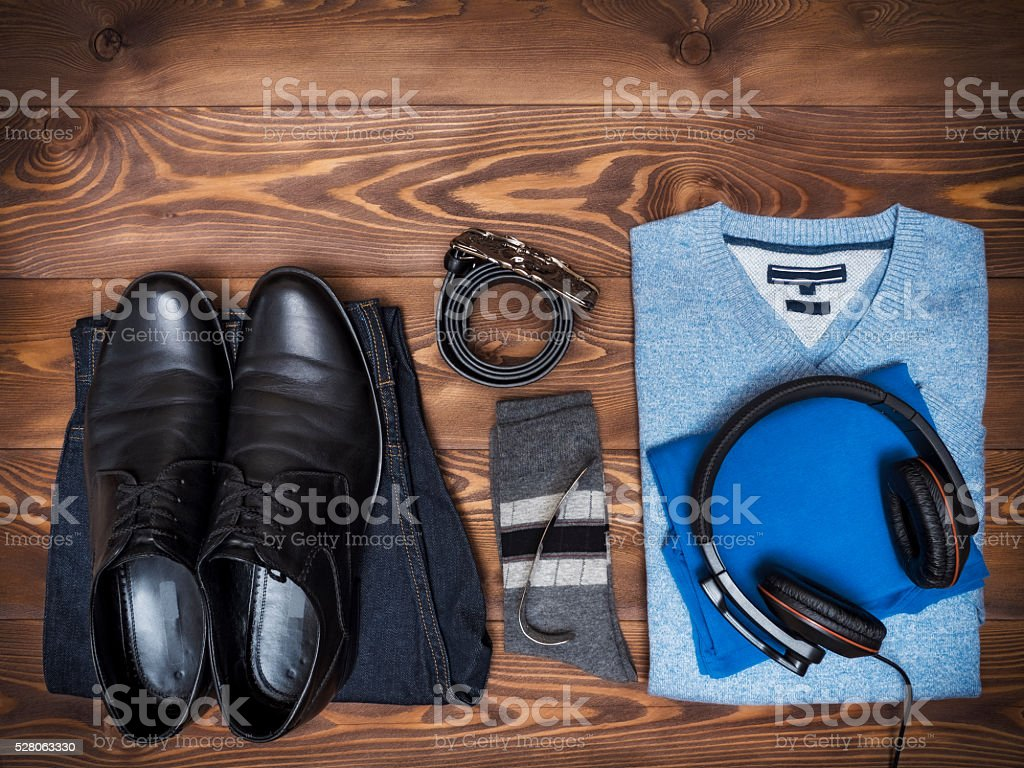 Top view on casual clothes stock photo