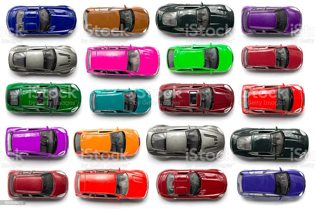 top view on colorful car toys stock photo