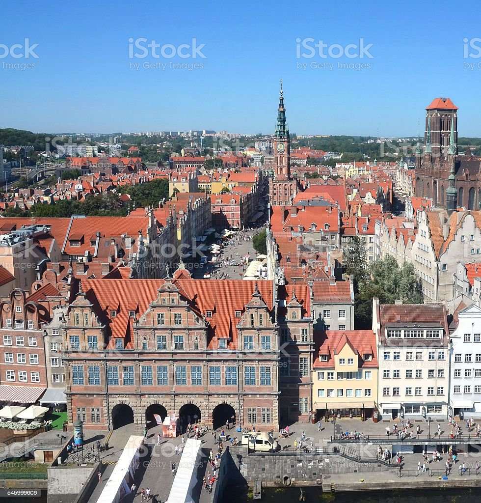Top view on Gdansk (Danzig)old town in Poland stock photo