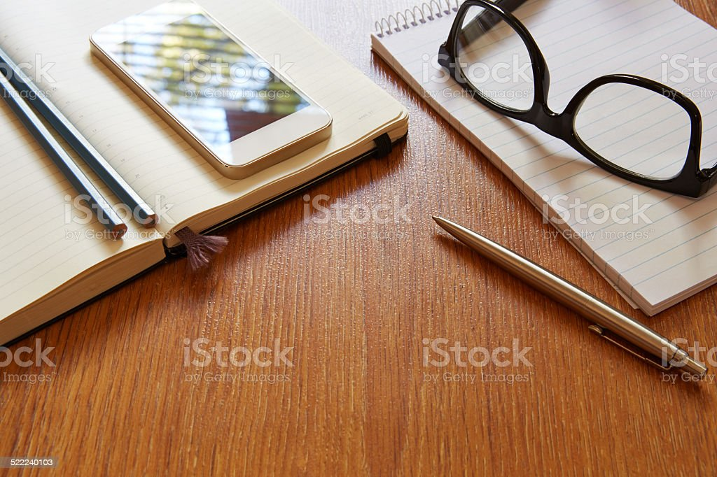 Top view on office workplace stock photo