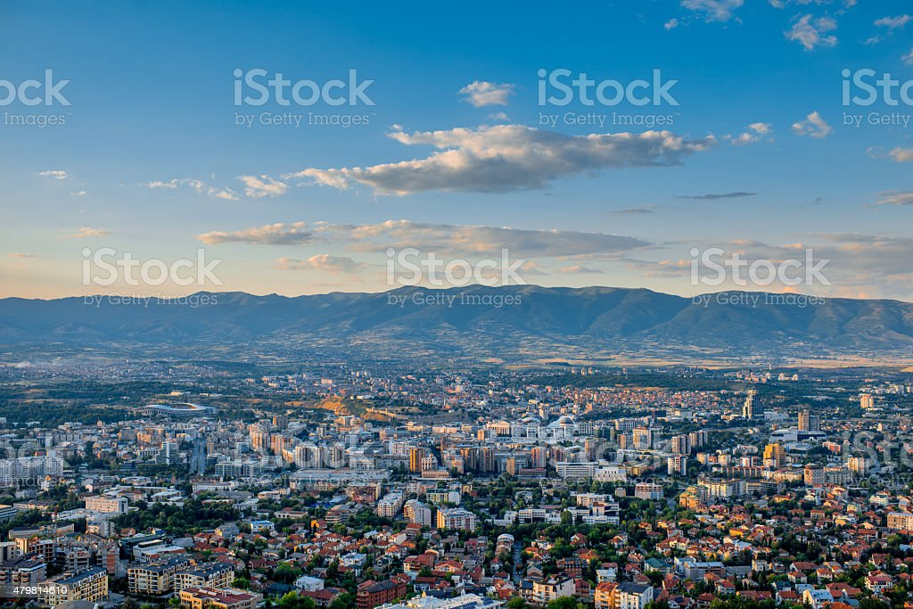 Top view on Skopje city in Macedonia stock photo