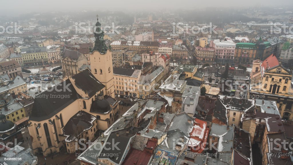 Top view on the old historical center of the city Lviv in Ukraine stock photo