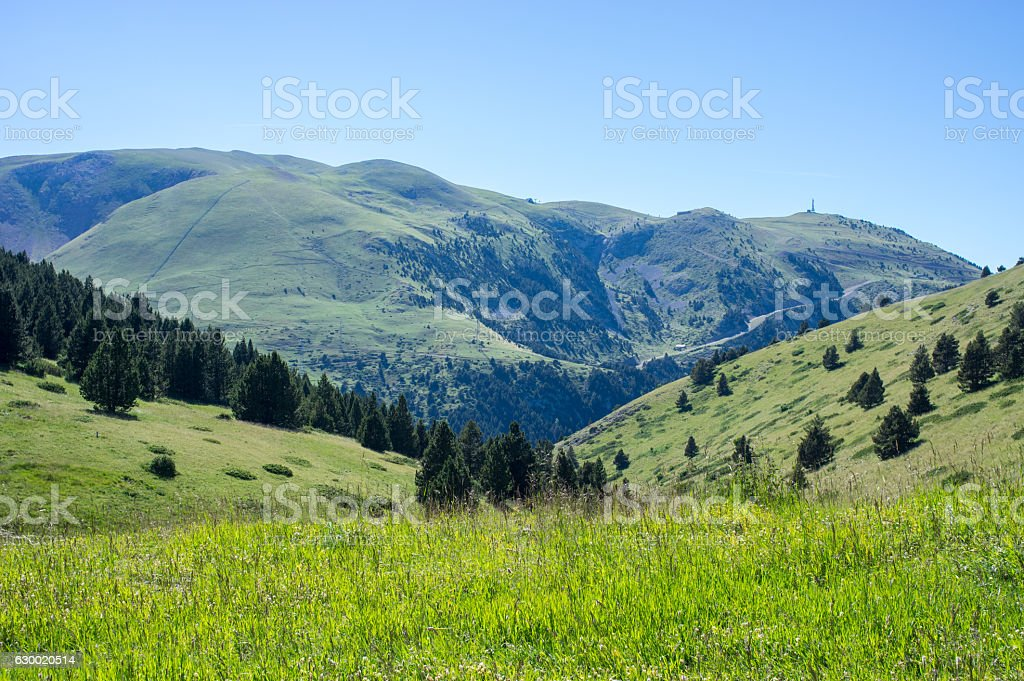 Top view on the Pyrenees mountains stock photo