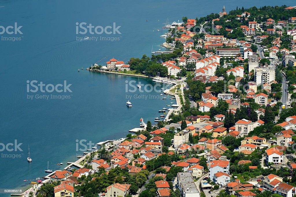 Top view on town Dobrota in Bay of Kotor, Montenegro stock photo