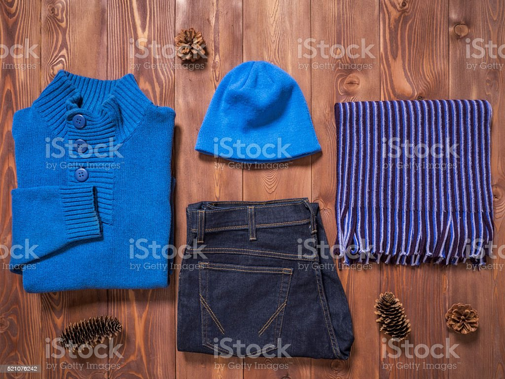 Top view on winter clothes stock photo
