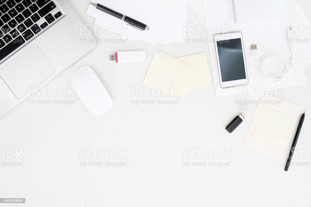 Top view on working desk stock photo