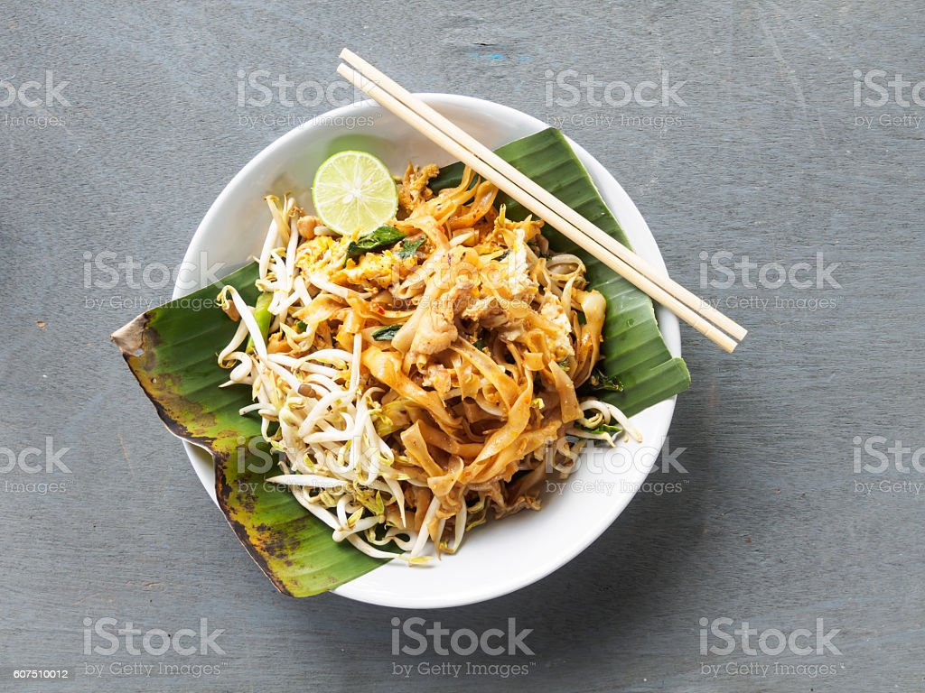 Top view pad thai of thai food noodles style stock photo