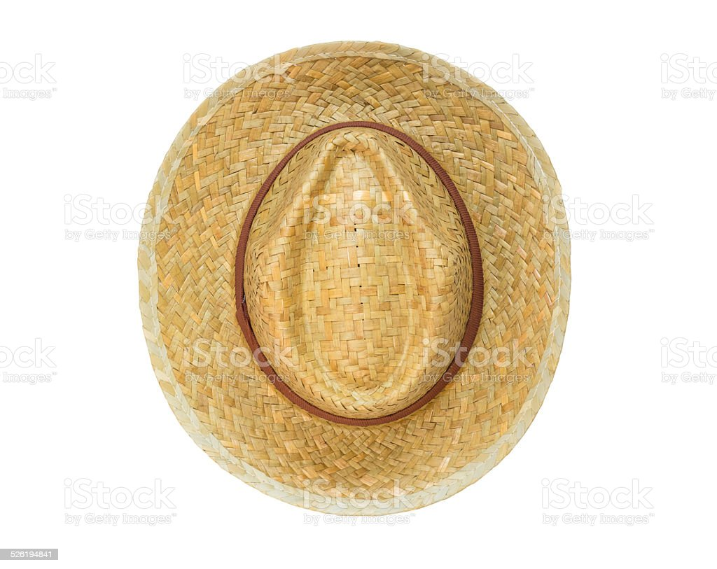 Top view panama hat isolated on white background stock photo