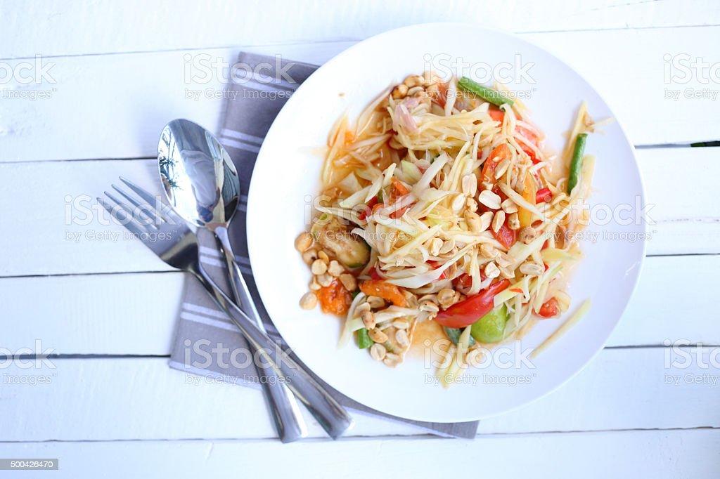 Top view Papaya salad stock photo