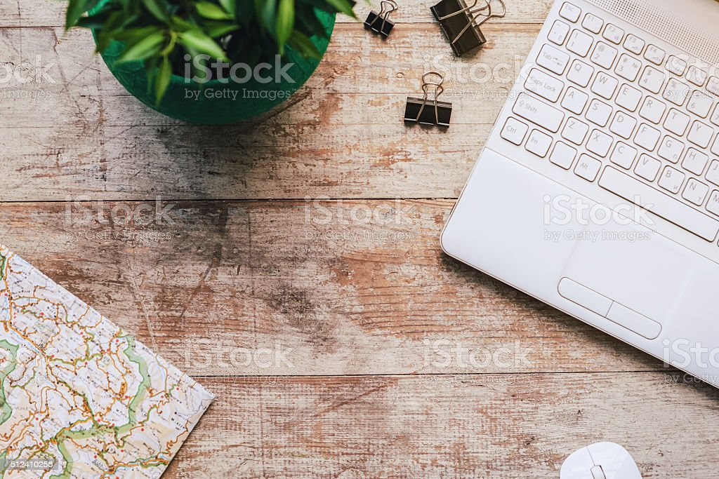 Top view photo of business objects stock photo