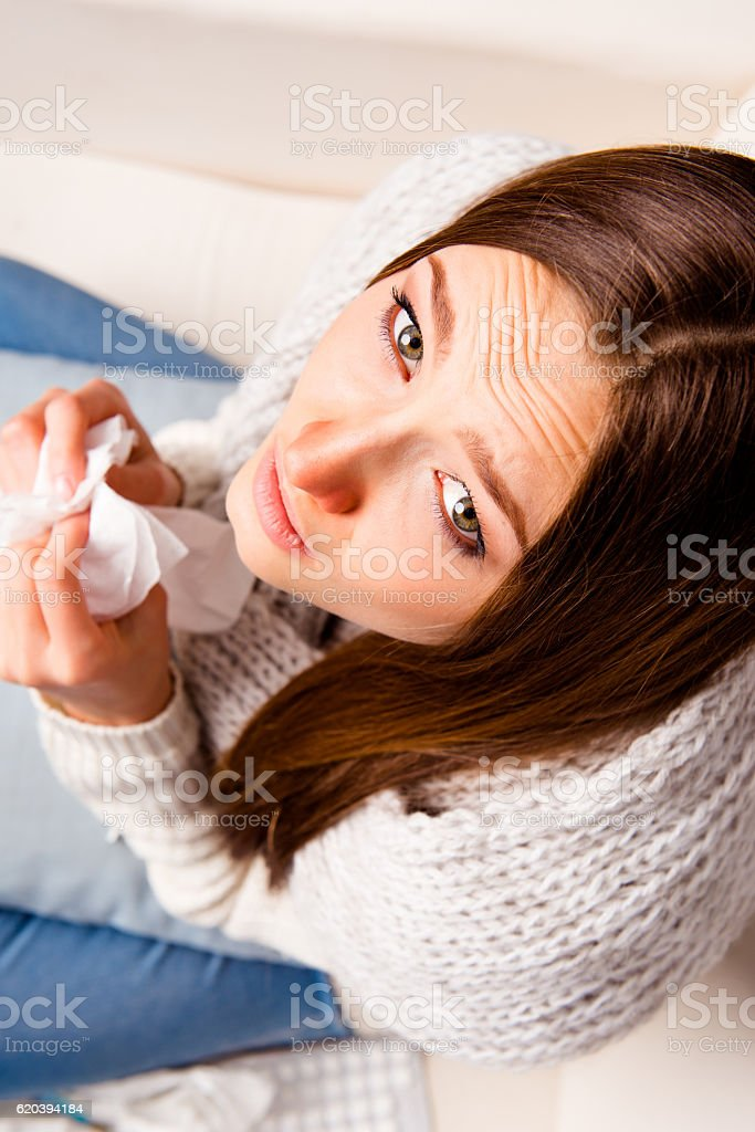 Top view photo of girl with snuffle, close up portrait stock photo