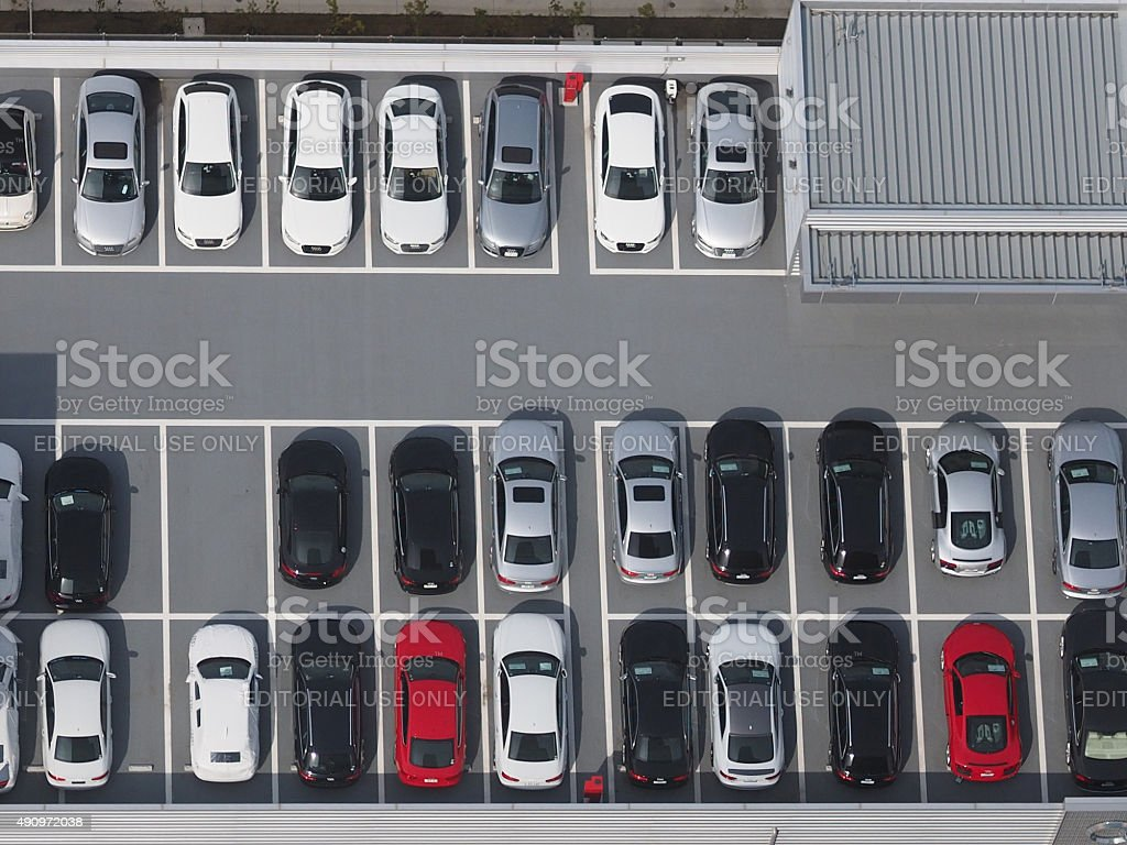 Top view photo of parking lot stock photo