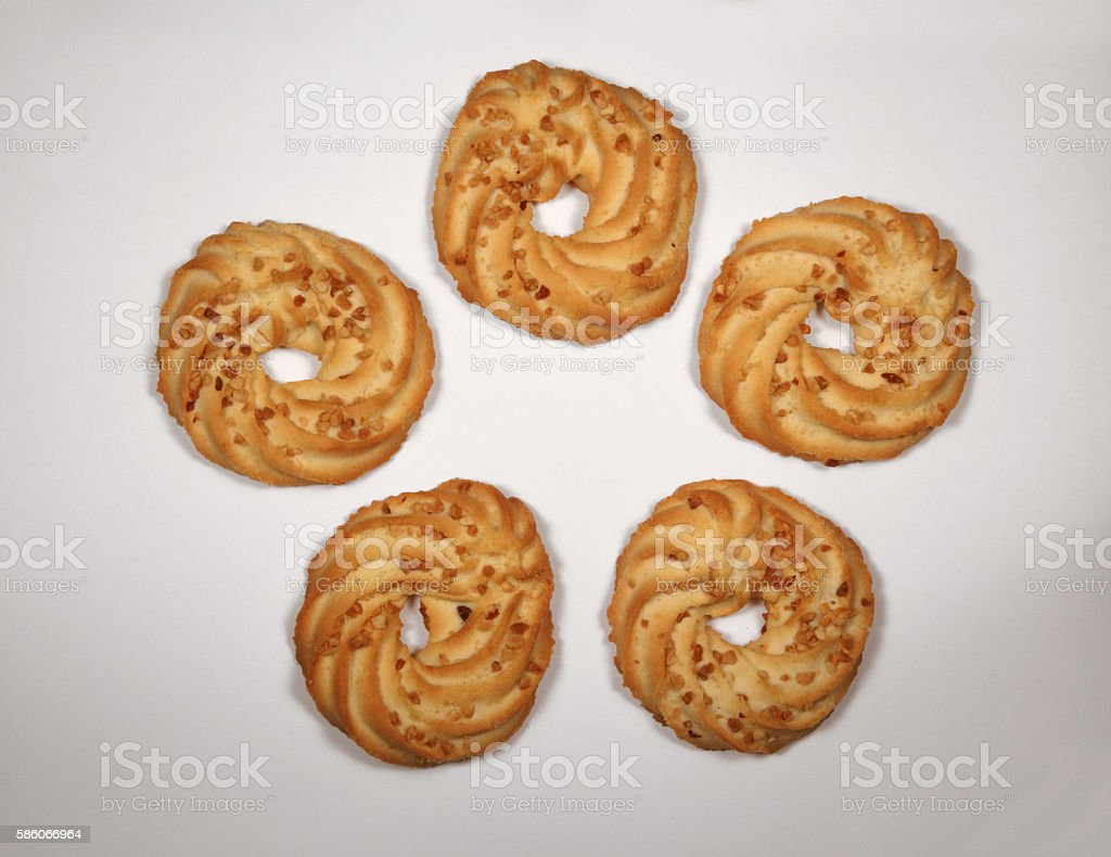 Top view photo of sand cookies on white table stock photo