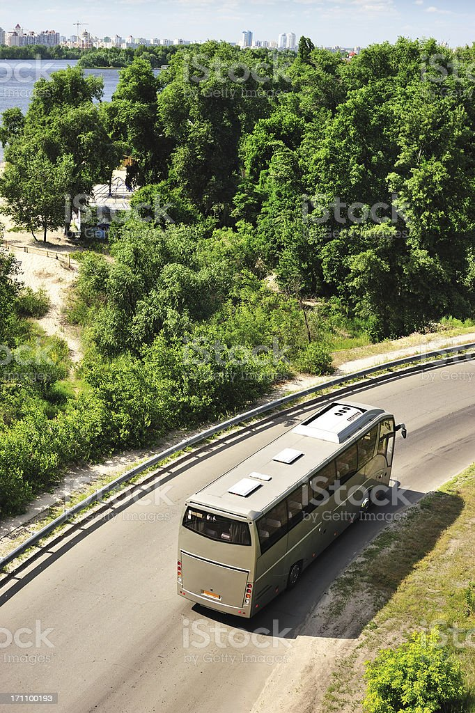 Top view photo of tour bus on the road stock photo