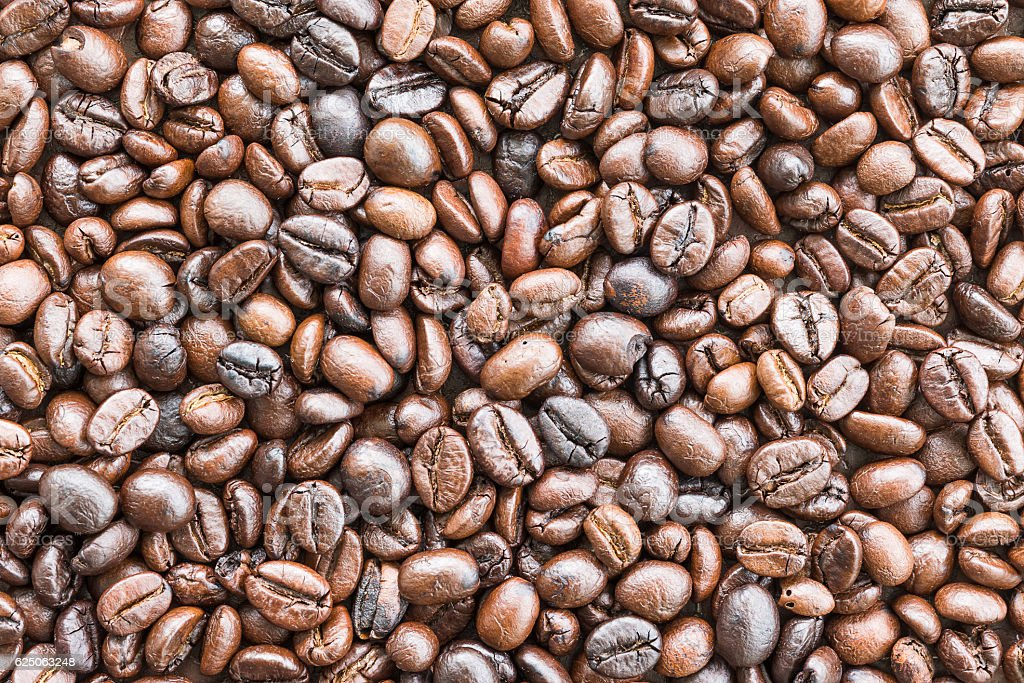 Top view Roasted coffee beans on white stock photo