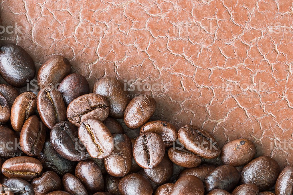 Top view Roasted coffee beans stock photo