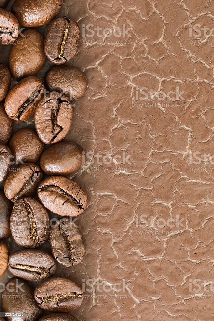 Top view Roasted coffee beans with copy space stock photo