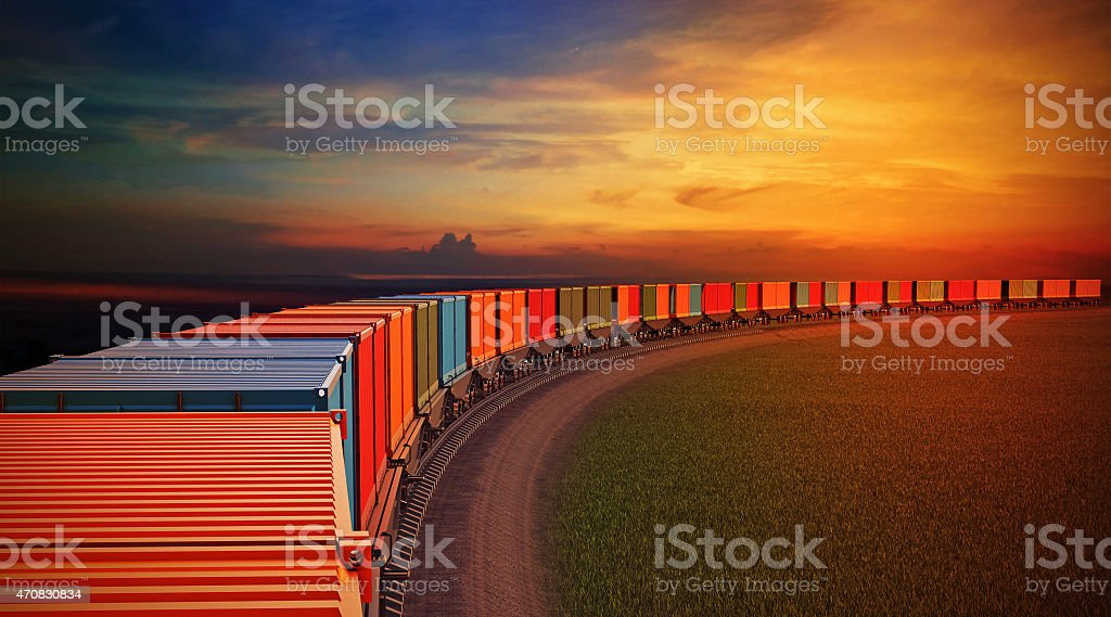 top view roofs of wagons of freight train stock photo
