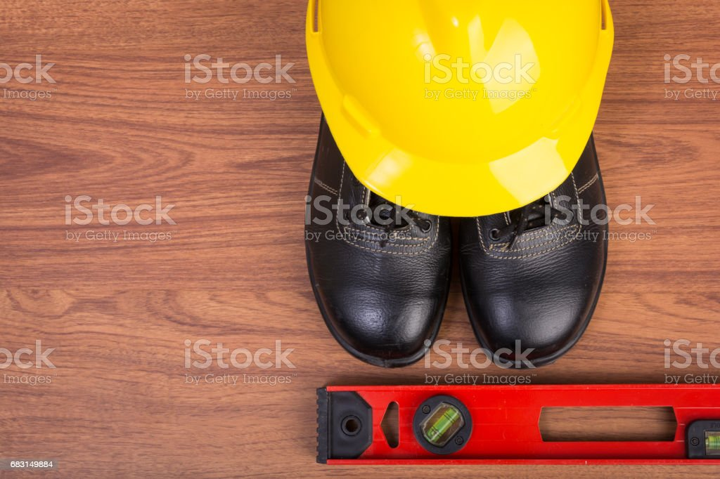 Top view safety shoes and composition stock photo