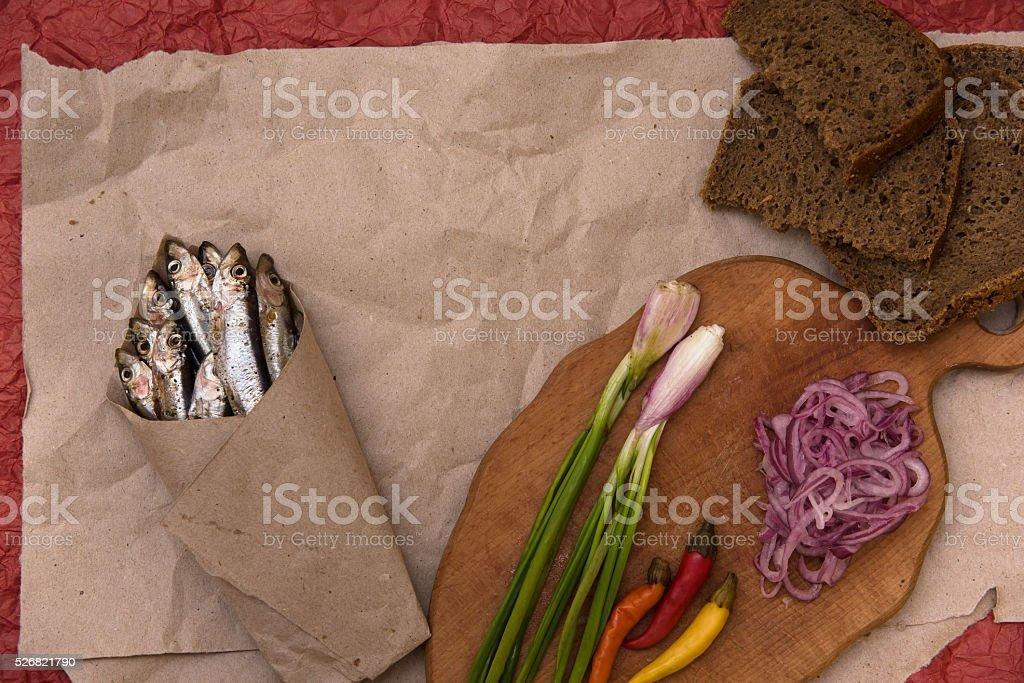 top view salted sardine stock photo