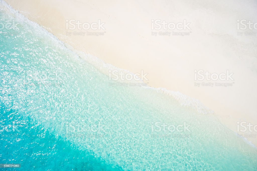 top view sand beach and lagoon stock photo