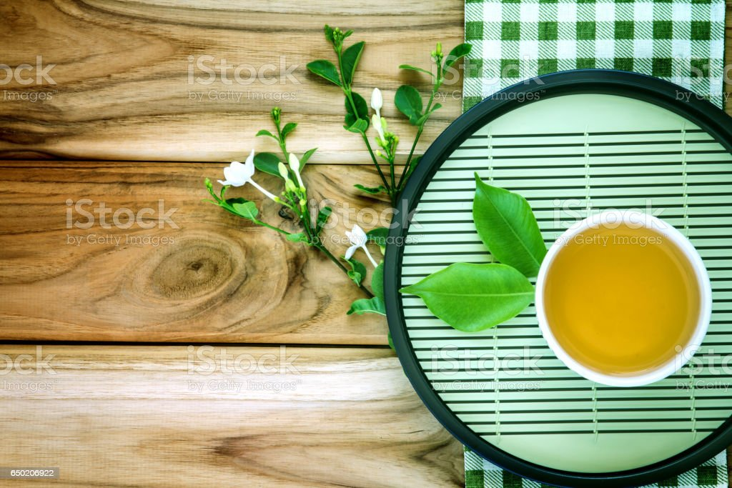 Top view shot of a cup of tea decoration stock photo