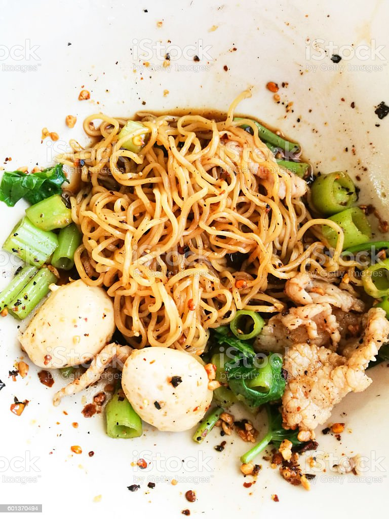 Top View Spicy Rich Flavour Boat Noodle stock photo