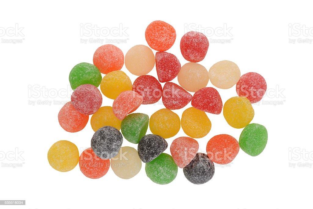 top view sugar coated gum drops stock photo