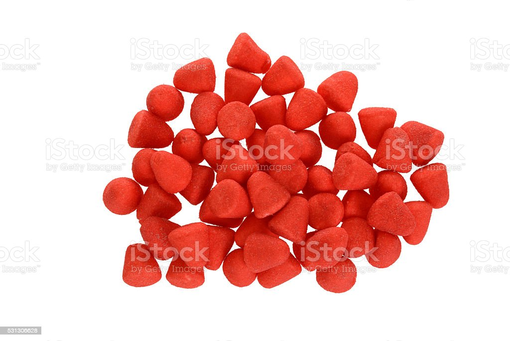 top view sugar coated strawberry candy stock photo