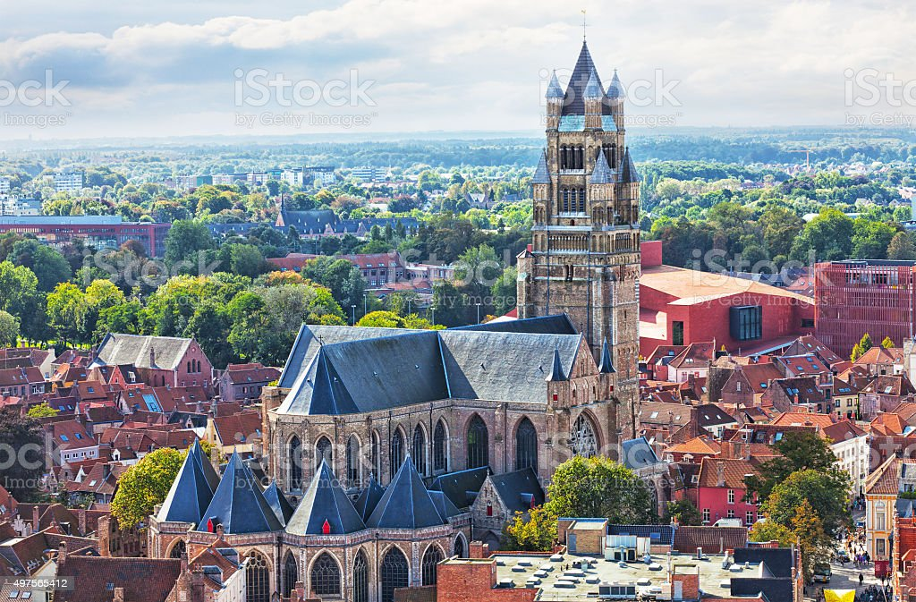 top view to Bruges and the cathedral St. Sauveur stock photo
