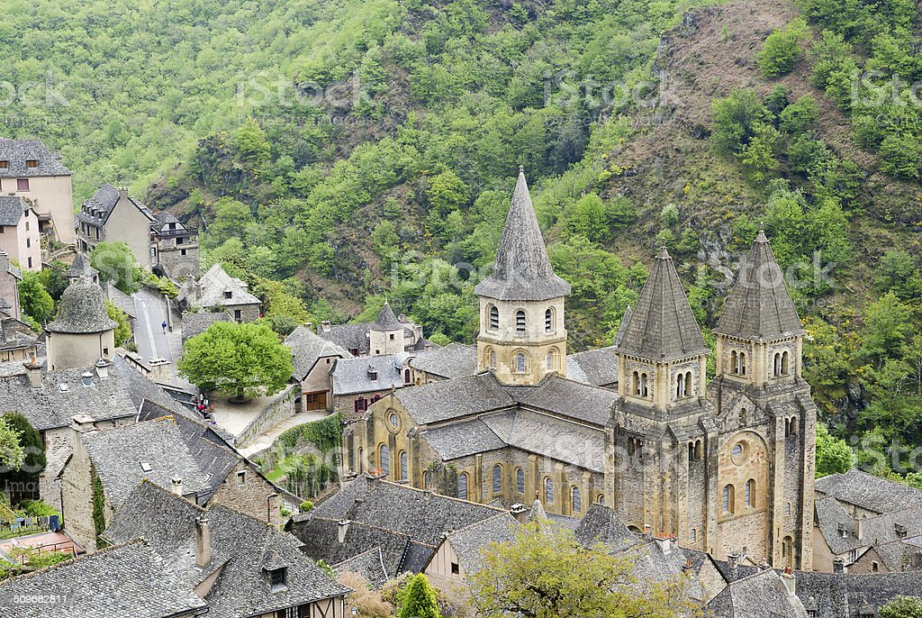 Top view to Conques, St James Way, France stock photo