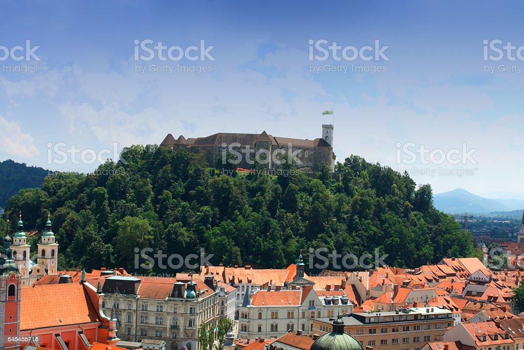 Top view to Ljubljana city, the capital of Slovenia stock photo