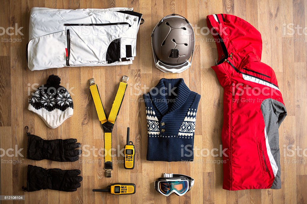 top view travel items on the floor stock photo