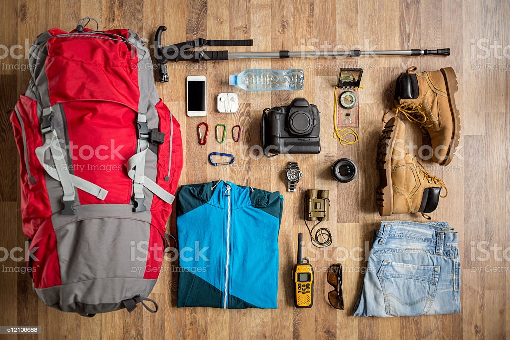 top view travel things on the floor stock photo