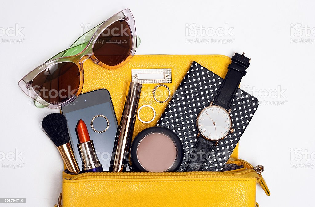 Top view trendy accessories for woman stock photo
