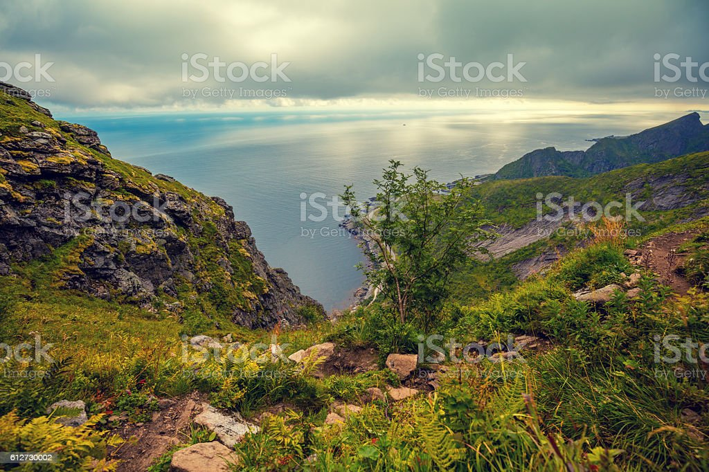 Top view. View from mountain at sea. stock photo