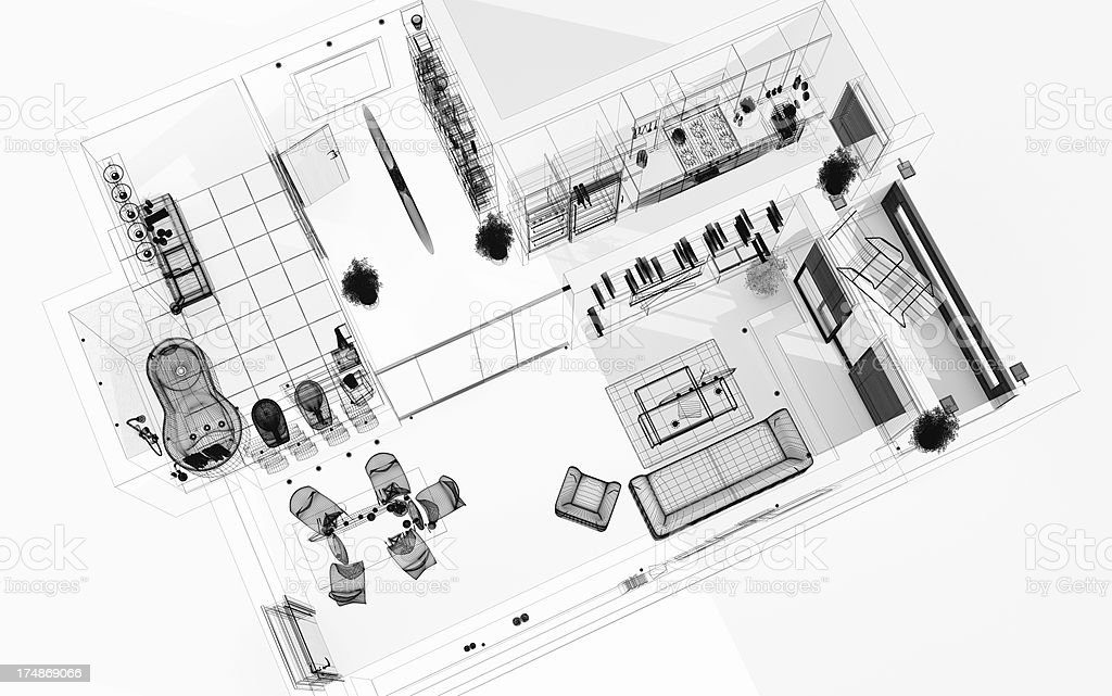Top View Wireframe 3D Render. Modern Interior. Blueprint. Architecture Abstract. royalty-free stock photo
