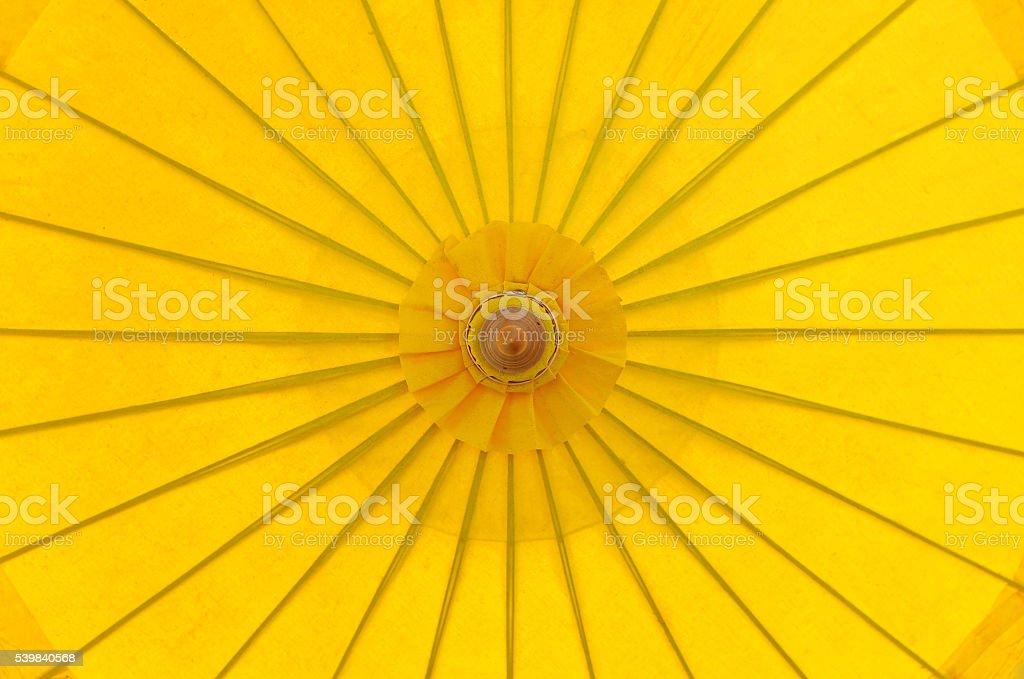 Top view yellow parasol sunshade umbrella stock photo